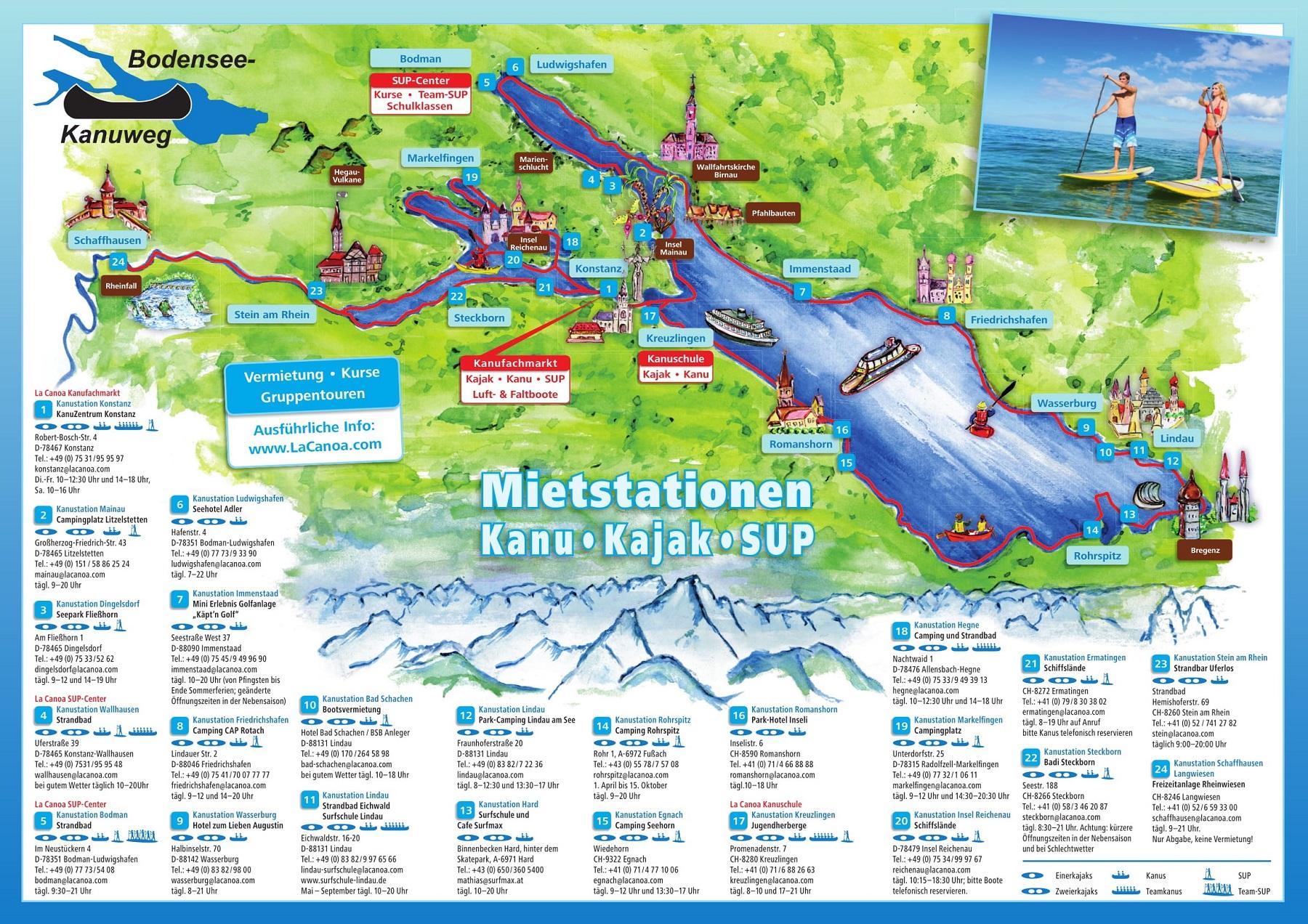 Bodensee-Kanuweg Mietstationen