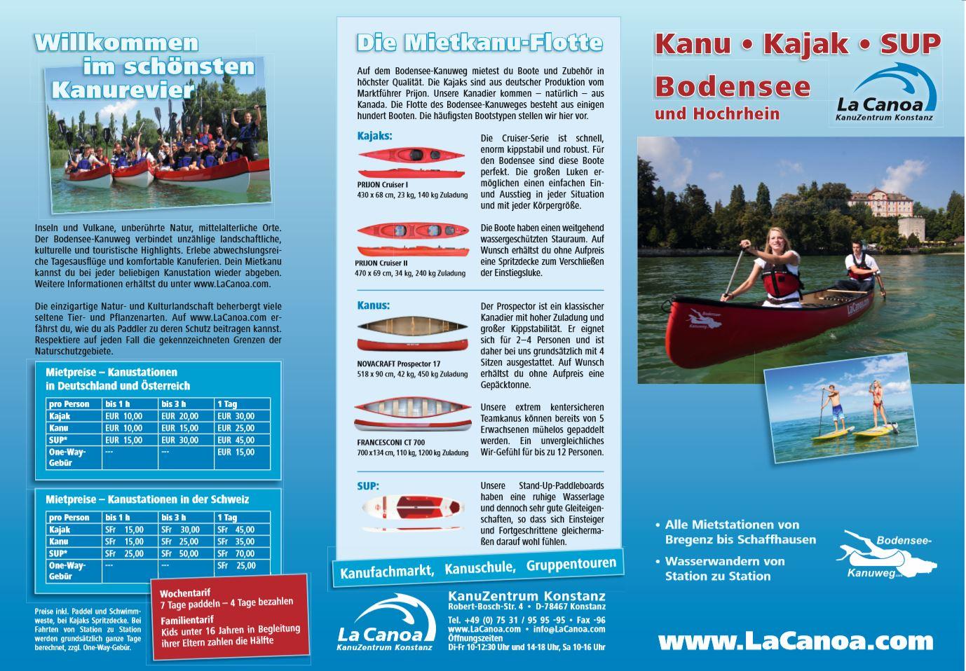 Informationen Preise Kanus Kajaks und SUPs Bodensee-Kanuweg