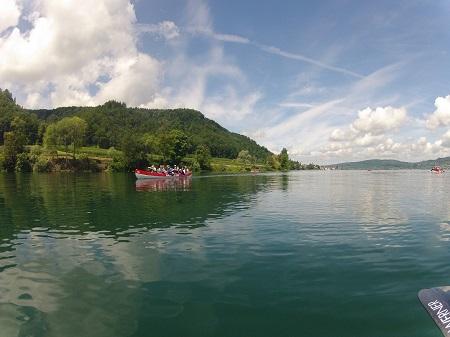 Teamkanu auf dem Bodensee bei der Marienschlucht